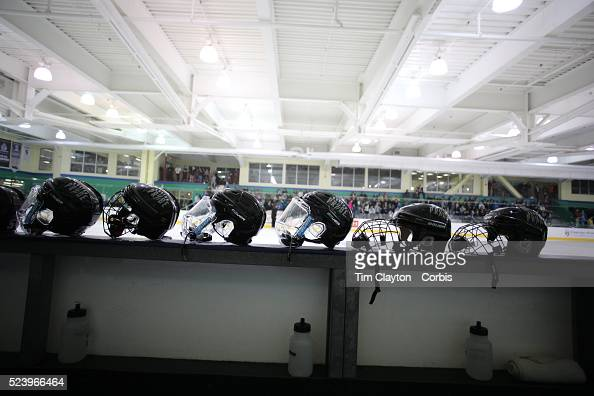 Helmets of Boston Pride players before the Connecticut Whale vs Boston Pride National Women's Hockey League game at Chelsea Piers Stamford...