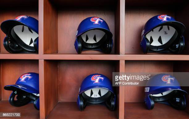 Helmets of Taiwan National Baseball Team before the friendly game of National Baseball Team of Nicaragua against the National Baseball Team of Taiwan...