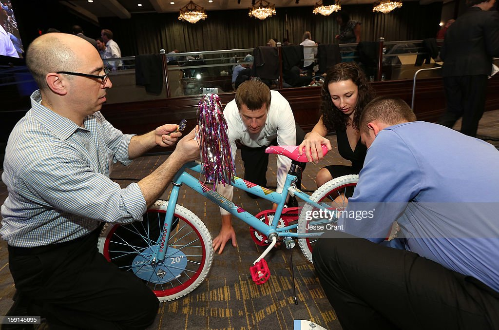 Helms the largest bicycle build on the west coast for The Boys and Girls Clubs of America at the Hyatt Regency Century Plaza on January 8, 2013 in Century City, California.