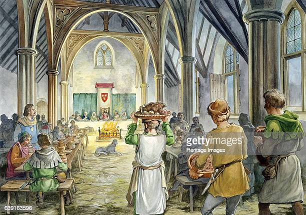 Helmsley Castle 14th century Reconstruction drawing of the interior of the 14th century hall during banquet feast A medieval castle situated in the...
