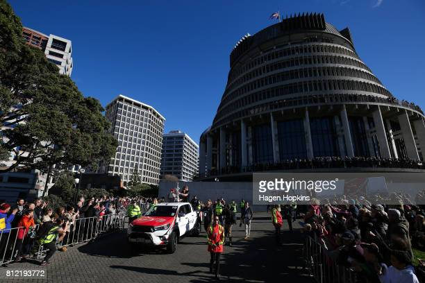 Helmsman Peter Burling holds the Americas Cup during the Team New Zealand Americas Cup Wellington Welcome Home Parade at Parliament on July 11 2017...