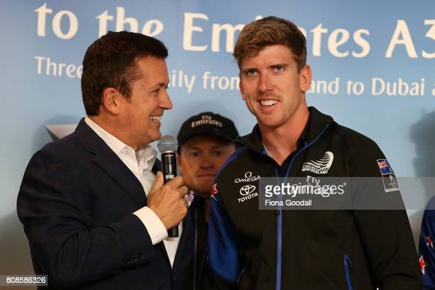 Helmsman Peter Burling speaks to the crowds as Team New Zealand arrive at Auckland International Airport with the Americas Cup Trophy on July 5 2017...
