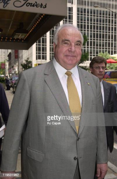Helmut Kohl during Helmut Kohl leaving the Waldorf Astoria Hotel at Waldorf Astoria Hotel in New York City New York United States