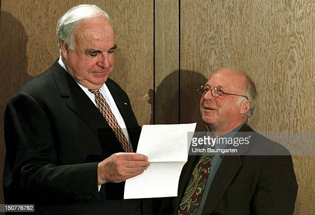 Helmut KOHL Federal Chancellor and DR Norbert BLUEM Federal Minister of Labour and Social Affairs talking to each other before a cabinet meeting