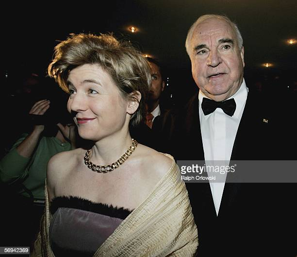 Helmut Kohl former German Chancellor and Maike Richter arrive at the Opera Ball at Alte Oper on February 25 2006 in Frankfurt Germany