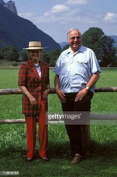Helmut Kohl on vacation in StGilgen Austria on August 15 1993With wife Hannelore