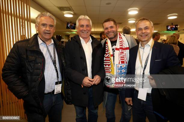 Helmut Kremers Klaus Fischer Uli Borowka and Olaf Thon pose during the Club of Former National Players Meeting at Signal Iduna Park on March 22 2017...