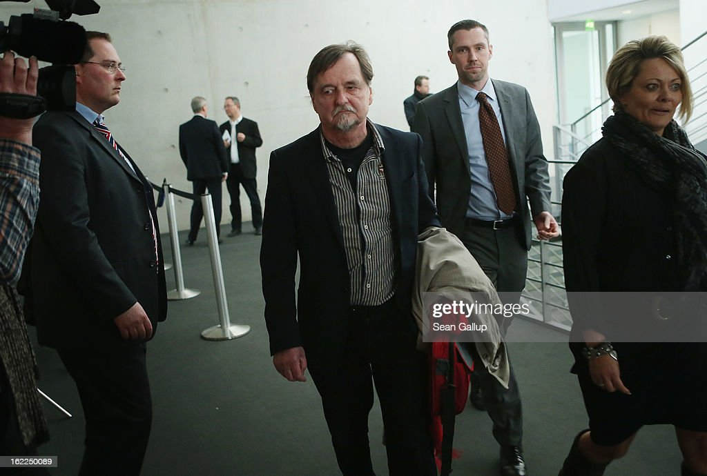 Helmut Roewer, the controversial former President of the Thuringia office of the Office for the Protection of the Constitution (Verfassungschutz), the German law enforcement agency charged with fighting domestic terrorism, arrives to testify before the Bundestag NSU Investigative Commisision on February 21, 2013 in Berlin, Germany. The Commission is investigating the NSU murder series, in which a trio of neo-Nazis calling themselves the National Socialist Underground murdered a total of nine immigrants and one policewoman between 2000 and 2007, as well as detonating two bombs in immigrant-heavy districts in Cologne. The case has developed into the biggest German law enforcement embarassement and scandal in modern German history because police failed to pursue a right-wing motive o the crimes.