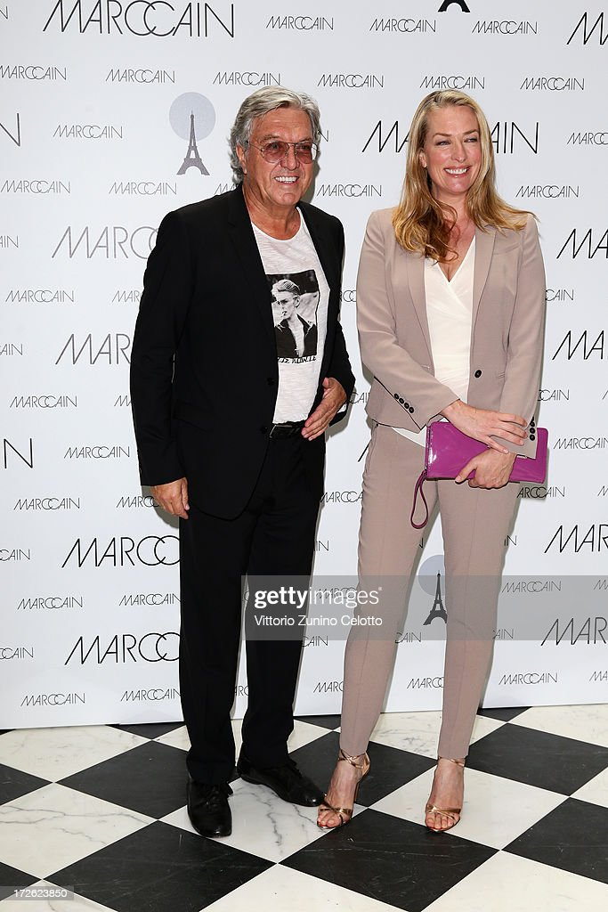 Helmut Schlotterer and Tatjana Patitz attend the Marc Cain Photocall during the Mercedes-Benz Fashion Week Spring/Summer 2014 at the Hotel Adlon on July 4, 2013 in Berlin, Germany.