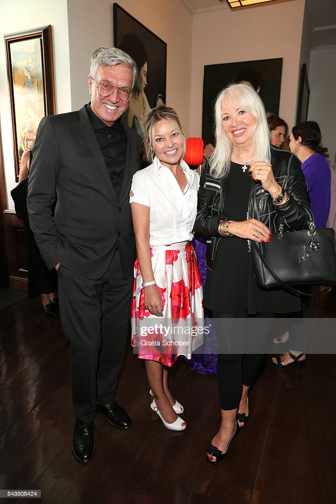 Helmut Schlotterer, Founder and CEO of Marc Cain and his wife Ute Schlotterer and Graefin Sandra Bernadotte (C) during the after party of the Marc Cain fashion show spring/summer 2017 at China Club on June 28, 2016 in Berlin, Germany.