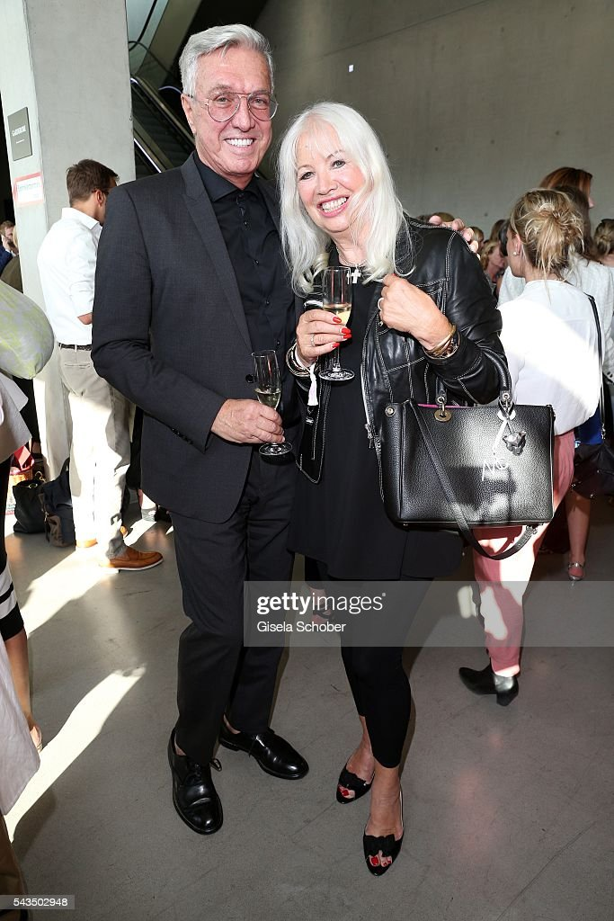 Helmut Schlotterer , Founder and CEO of Marc Cain and his wife Ute Schlotterer during the Marc Cain fashion show spring/summer 2017 at CITY CUBE Panorama Bar on June 28, 2016 in Berlin, Germany.