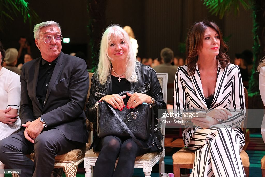 Helmut Schlotterer, Founder and CEO of Marc Cain and his wife Ute Schlotterer , <a gi-track='captionPersonalityLinkClicked' href=/galleries/search?phrase=Iris+Berben&family=editorial&specificpeople=226774 ng-click='$event.stopPropagation()'>Iris Berben</a> during the Marc Cain fashion show spring/summer 2017 at CITY CUBE Panorama Bar on June 28, 2016 in Berlin, Germany.