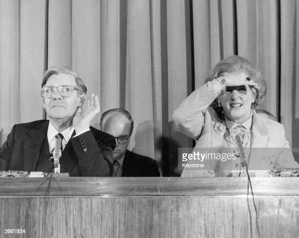 Helmut Schmidt the West German Chancellor at a press conference in Millbank Tower with Margaret Thatcher the British Prime Minister Original...
