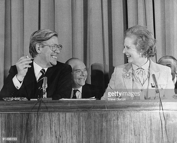 Helmut Schmidt the West German Chancellor with British Prime Minister Margaret Thatcher at a press conference held in the cinema at Millbank Tower...