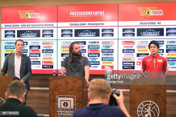 Helmut Schulte spokesman Christian Arbeit and Atsuto Uchida of 1FC Union Berlin during the presentation on august 23 2017 in Berlin Germany