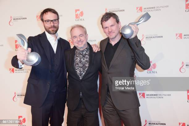 Helmut Zerlett and award winners composition audiovisual composition Rene Dohmen and Jumpel Duerbeck during the 9th GEMA Musikautorenpreis at Ritz...