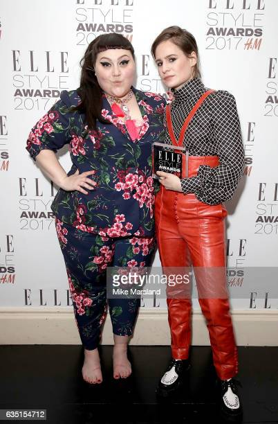 Heloise Letissier aka Christine and the Queens poses in the winners room with the Album of The Year award and presenter Beth Ditto at the Elle Style...