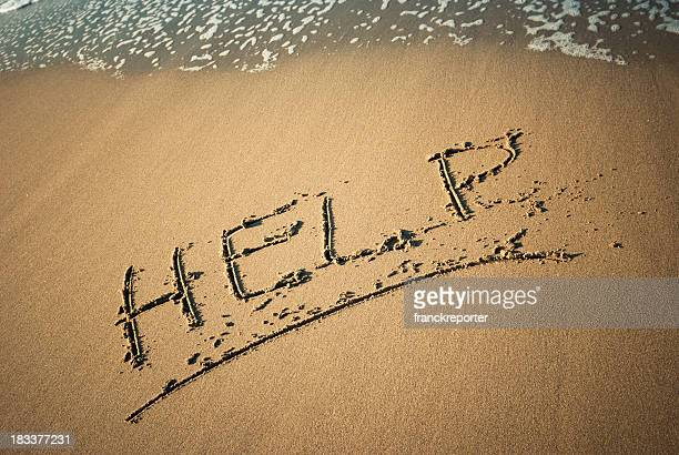 Help message in the sand