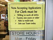 Help Wanted Red Apple Market Issaquah Washington USA 27 October 2014