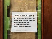 Help wanted sign in midtown Manhattan The Manhattan Borough of New York New York USA