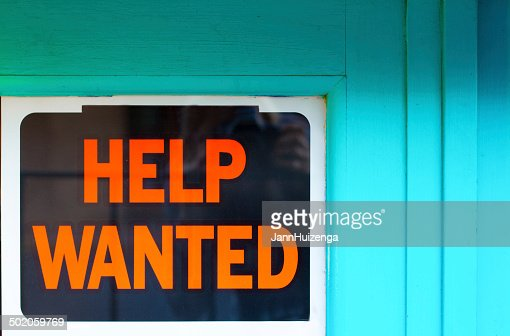 Help Wanted Sign in Old Blue Window : Stock Photo