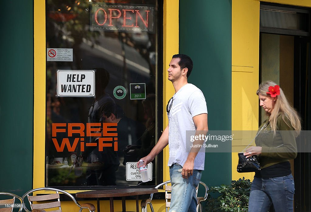 A 'help wanted' sign is posted in the window of a cafe on September 27, 2012 in San Francisco, California. The Labor Department reported that new claims for unemployment benefits fell by 26,000 this week to a seasonally-adjusted 359,000, the lowest level since July.