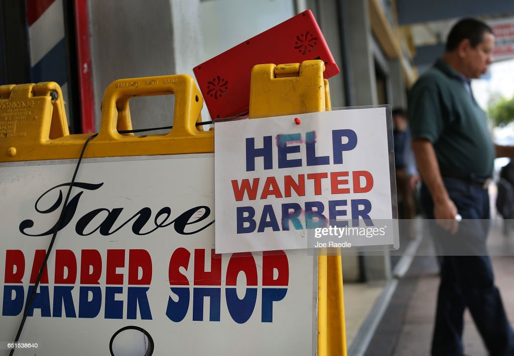 A Help Wanted sign is seen as the Bureau of Labor Statistics reports that nonfarm payrolls increased by 235,000 in February and the unemployment rate was 4.7 percent in the first full month of President Donald Trump's term on March 10, 2017 in Miami, Florida.