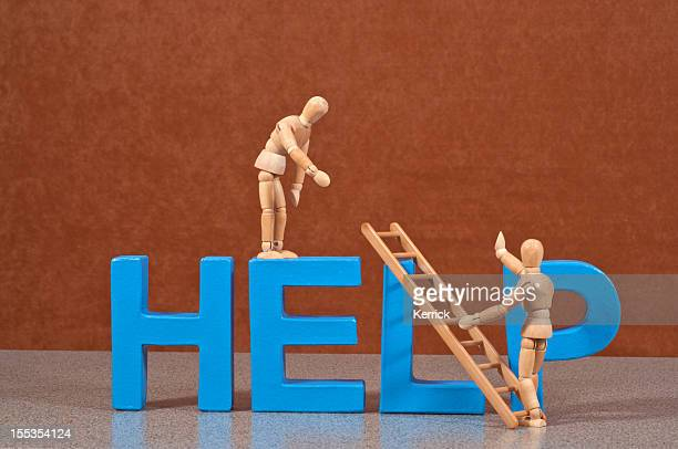 Help - Wooden Mannequin demonstrating this word