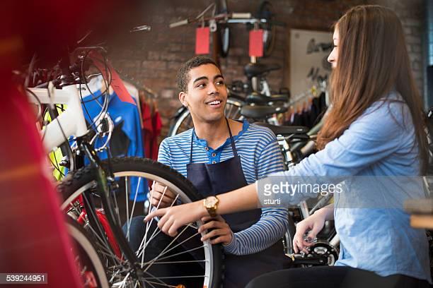 helpful bike shop assistant