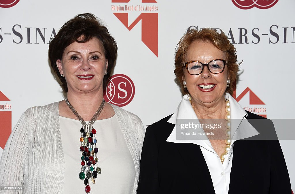 Helping Hand Co-Vice Presidents Joyce Rudnick (L) and Shirley Isaacson arrive at The Helping Hand of Los Angeles' 87th Anniversary Mother's Day Luncheon and Fashion Show at the Beverly Wilshire Four Seasons Hotel on May 6, 2016 in Beverly Hills, California.