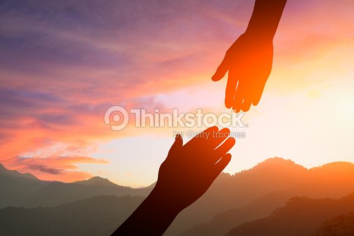 helping hand with the sky sunset : Stock Photo