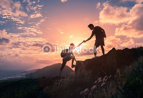 Helping hikers : Stock Photo