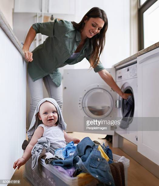 Helping mommy with her chores