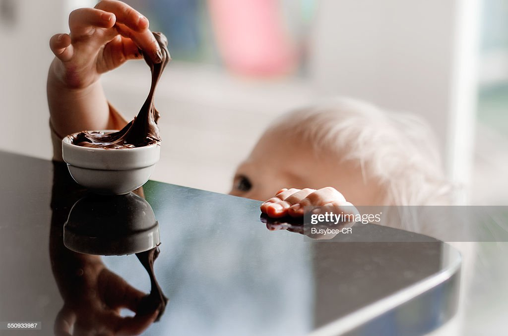 Helping myself to the chocolate