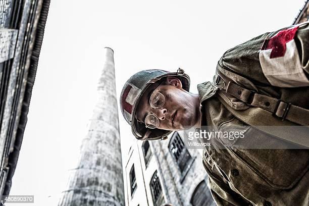 Impotente guerra mundial dos US Army militares contra Medic