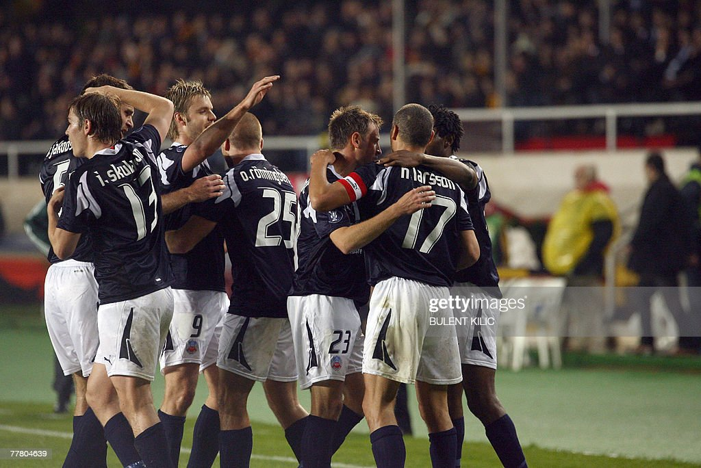 Helsingborg players celebrate their first goal against Galatasaray during their UEFA Cup match at Ali Samiyen Stadium, 08 November 2007, in Istanbul.