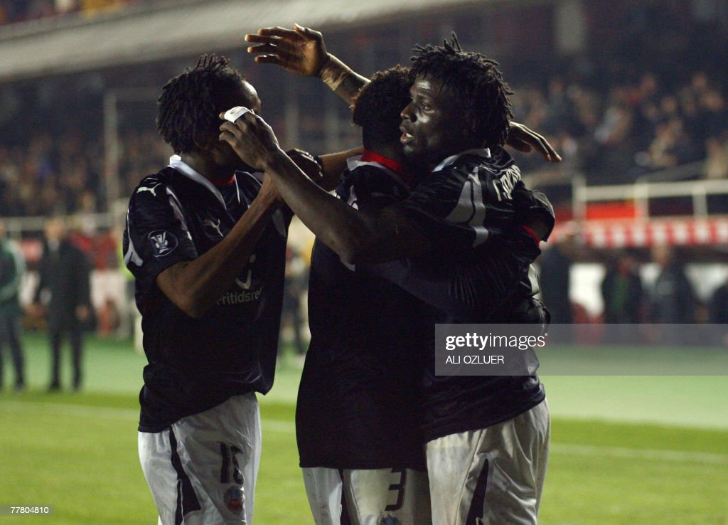 Helsingborg players celebrate their first goal against Galatasaray during their UEFA Cup football match at Ali Samiyen Stadium, 08 November 2007, in Istanbul.