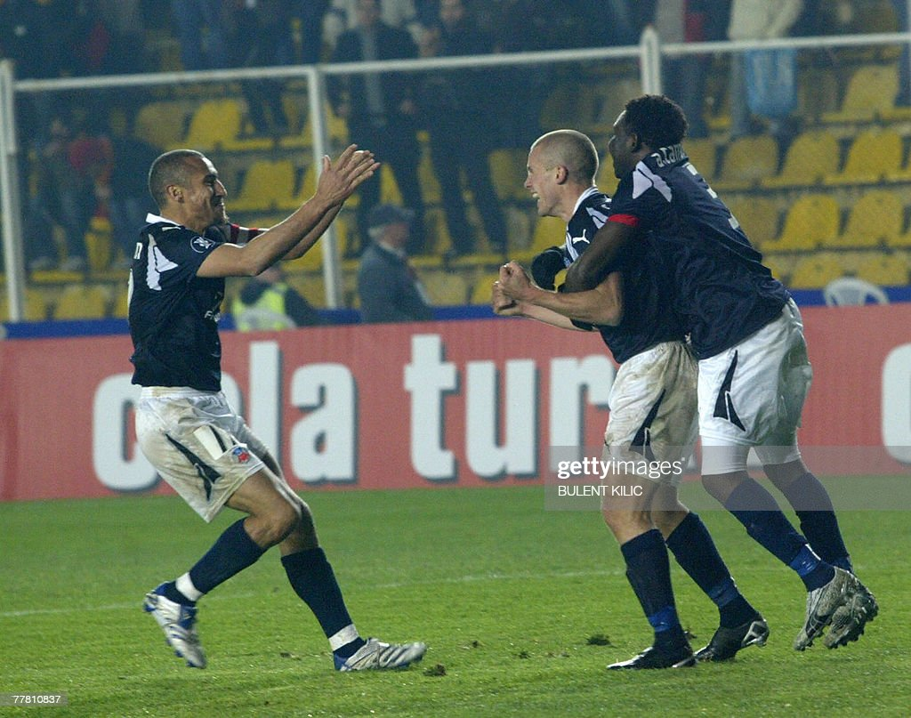 Helsingborg players celebrate their third goal against Galatasaray during their UEFA Cup match at Ali Samiyen Stadium, 08 November 2007, in Istanbul.