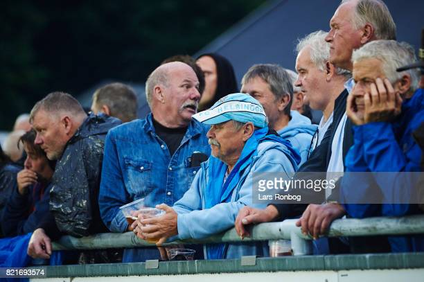 Helsingør fans watching the game during the Danish Alka Superliga match between FC Helsingor and OB Odense at Helsingor Stadion on July 24 2017 in...