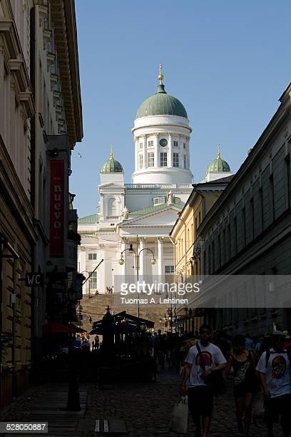 Helsinki Cathedral behind a pedestrian street