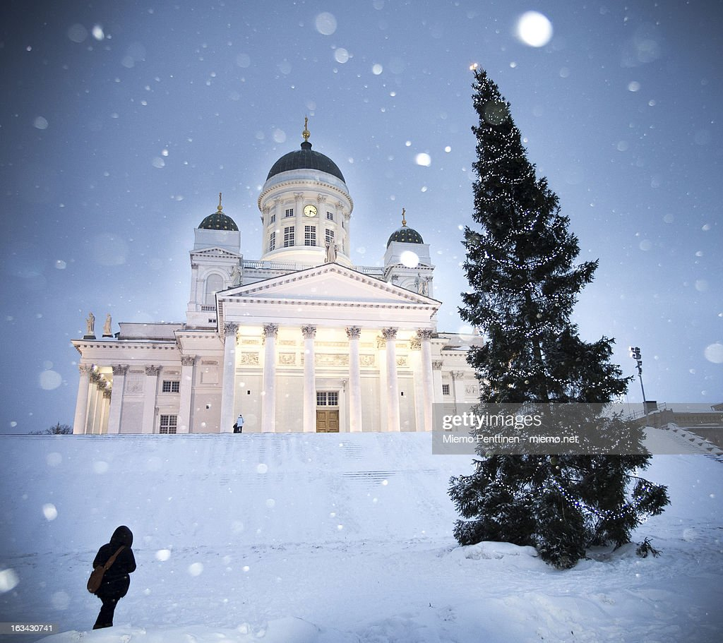 Helsinki Cathedral U0026 Christmas Tree In Snow Storm : Stock Photo
