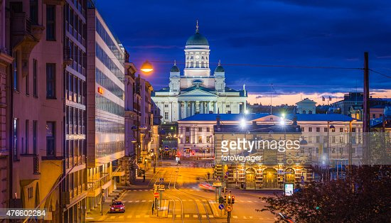 Helsinki Cathedral overlooking Market Square at sunset panorama Finland