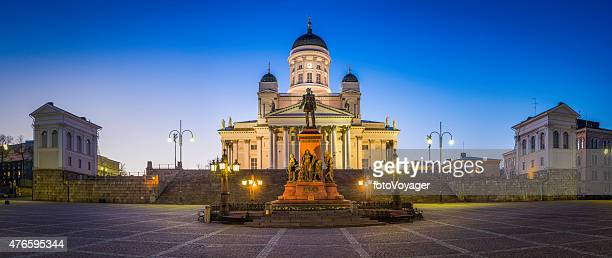 Helsinki Cathedral Senate Square iconic landmarks illuminated at dusk Finland