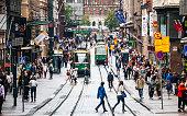 Crowded Aleksi street, Helsinki, Finland