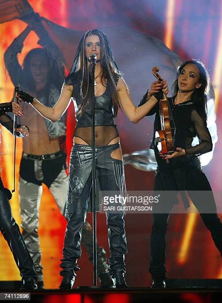 Moldovian singer Natali Barbu performs her song 'Fight' during the first dress rehearsal of the Eurovision Song Contest 2007 semifinal in Helsinki...