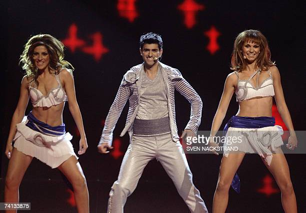 Sarbel of Greece sings 'Yassou Maria' during the final of the Eurovision Song Contest 2007 final in Helsinki Finland 12 May 2007 Serbia Ukraine and...