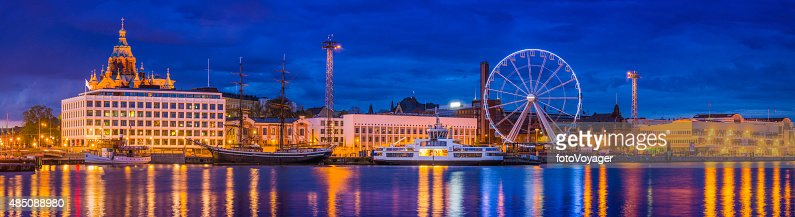 Helsinki harbour waterfront panorama Uspenski Cathedral and ferris wheel Finland