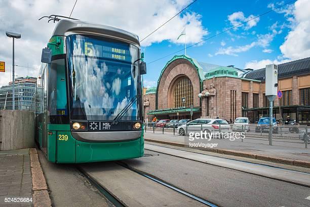 Helsinki public transport tram outside Central Railway Station Finland Scandinavia