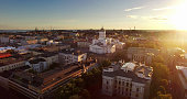 Beautiful aerial shot of Helsinki with summer sunset.