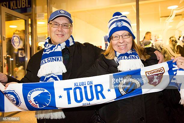 Helsinki supporters during UEFA Europa League group B match between HJK Helsinki and Club Brugge KV at the Sonera Stadium on October 2 2014 in...